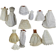 Antique Doll Whites! 12 Antique White Cotton Doll Slips! Variety of Sizes