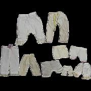 Antique Doll Whites! 9 Pairs White Cotton Doll Pantaloons!