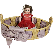 Antique Basket w Purple Ribbon - Perfect for a Small Bisque Doll