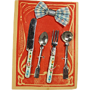 Darling Antique German Doll Flatware on Orig Card! Fork Knife Spoons Napkin