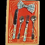 Darling Antique German Doll Flatware on Orig Card! Fork Knife Spoons Napkin