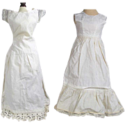 Antique Doll Whites! 2 Beautiful Long Antique Doll Lady Shaped Full Slips!