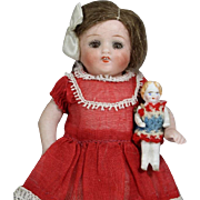 Very Tiny Antique Bisque Doll w Jointed Arms for Larger Doll to Hold! Red White Blue Clothes!