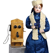 Lovely Antique Doll Sized Wall Crank Telephone!