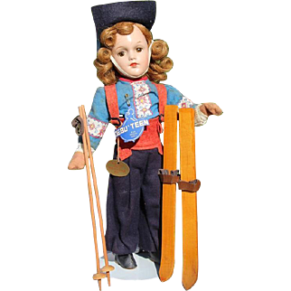1940s Arranbee Debuteen Skier Compo Doll w Original Skis, Hang Tags - R&B - Beautiful!