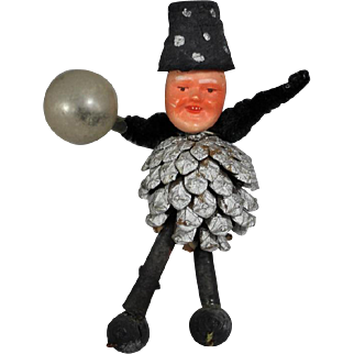 Antique German Bisque Pinecone Man Pipecleaner Christmas Ornament Elf Doll!