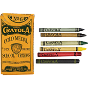 Antique c1920s Binney & Smith Crayola School Crayons - Complete!