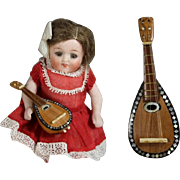 Darling Vintage Small Mandolin for All Bisque Dolls! Wood & Mother of Pearl