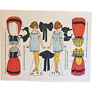 Antique c1910s French Uncut Alsace, France Orig Paper Doll Card!