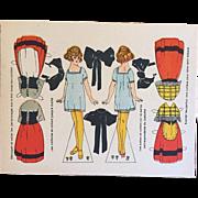 Antique c1910s French Uncut Alsace, France Orig Paper Doll Card!