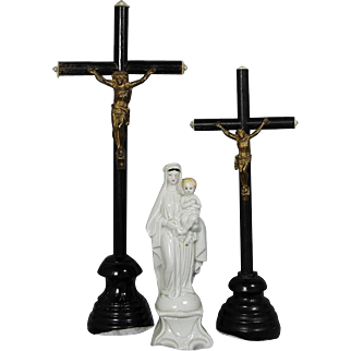 Beautiful Antique French Table Altar Black Wood Crucifixes Pair!