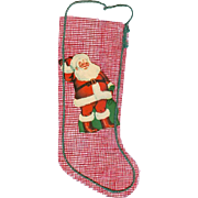 Darling Vintage 1950s Unused Mesh Christmas Stocking w Santa Claus Scrap!