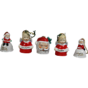 5 Darling Vintage Tiny Merry Christmas Bells Angel Santa Claus Made in Japan