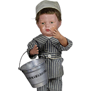 Darling Vintage 1923 Doll Sized Barnwarming Sand Pail Bucket!