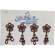 "Antique c1900s French Store Salesman Sample Card Display Tassels ""Haute Nouveaute"""