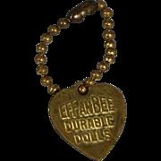 Vintage 1930s Effanbee Doll Gold Heart Bracelet - Patsy Patsyette Etc