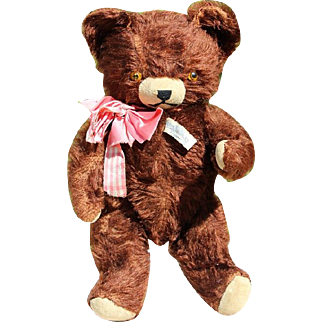 1930s Mohair Teddy Bear Knickerbocker - Original Tag and Bow! So Darling!