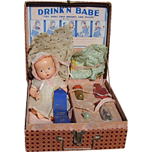 1927 Arranbee DRINK N BABE Compo Baby Doll in Box w Layette!  RARE!