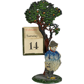 1940s German Perpetual Calendar w Mini Tree and Man - Cast Painted Metal