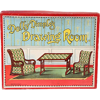 Antique DOLLY DIMPLE'S Drawing Room Doll Furniture Craft Unused in Orig Box!