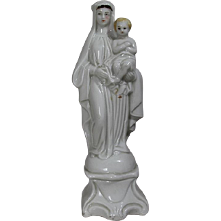 Antique French Virgin Mary Baby Jesus Bisque Altar Statue!