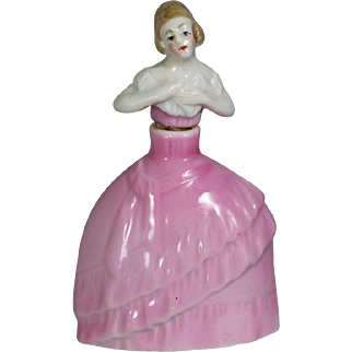 Lovely! Antique German Lady Perfume Bottle - Small - Doll Size