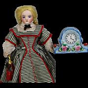 Lovely! Doll Size Dollhouse Clock - Occupied Japan - Blue!
