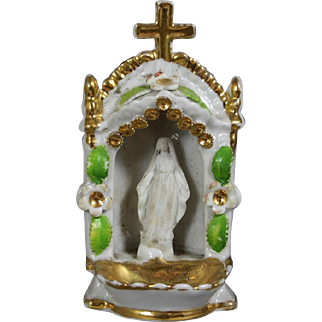 Antique French Bisque Virgin Mary Holy Water Font!