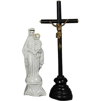 Beautiful Antique French Table Altar Small Black Wood Crucifix Cross!