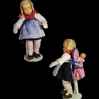 Vintage German Hildegard Krahmer Carved Wood Doll w Baby!