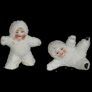 Darling Pair Antique Bisque Snowbabies - So Sweet!