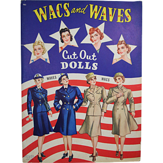 """1943 Uncut Paper Dolls """"WACS and WAVES"""" Military Cut Out"""