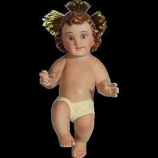 Darling Plaster Baby Jesus Nativity Doll w Glass Eyes!