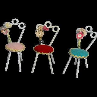Vintage 1940s Doll Dollhouse Ice Cream Chairs