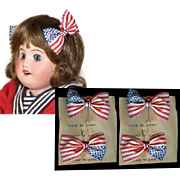 Old Store Stock TWO PAIRS Red White Blue Patriotic 4th July Flag Bows for Bisque Doll