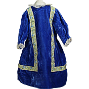 Pretty Blue Velvet Bisque Doll Dress!