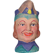 German Antique Store Stock Puppet Theater Doll Head Jester Terra Cotta!