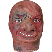 German Antique Store Stock Puppet Theater Doll Head DEVIL Terra Cotta!