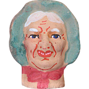 German Antique Store Stock Puppet Theater Doll Head Woman Terra Cotta!