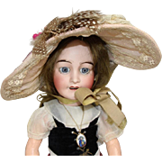Old Store Stock from SFBJ/Jumeau Factory French Doll Hat - Beautiful Feathers and Flowers!