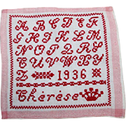 "1936 French Child's ABC Red White School Sampler ""Abecedaire"" w Name ""Therese""!"