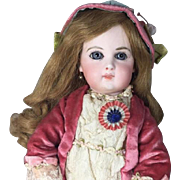 Antique French Patriotic Red White Blue Flag Rosette for Bisque Doll! Jumeau Steiner Fashion!