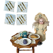 Fantastic Antique Doll Small Dresden Flatware on Dainty Napkins!