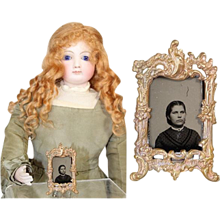 Antique French Fashion Doll Frame w Tintype of Lovely Lady!