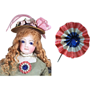Paris Find! Antique French Flag Cockade (Cocarde) for Bleuette French Fashion Doll!