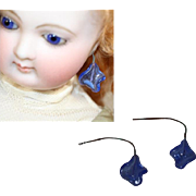 Gorgeous Antique French Fashion Doll Blue Glass Earrings!