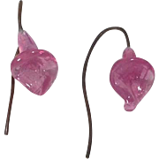 Gorgeous Antique French Fashion Doll Floral Earrings Pink Color!