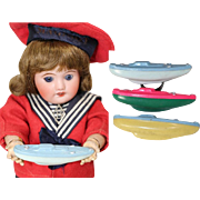 Darling French c1930s Celluloid Doll Sized Toy Boats! For Bleuette or Boy Dolls!