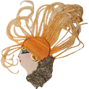 Beautiful Antique Store Stock Flapper Doll Head Applique! Used on Candy Containers, Boudoir Pillows, Etc.