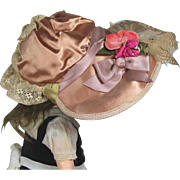 SFBJ Lovely Vintage French Bisque Doll Hat - Beautiful Feathers and Flowers!